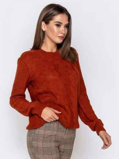 Ажурный свитер с резинкой на манжетах терракотовый - 41173, фото 2 – интернет-магазин Dressa