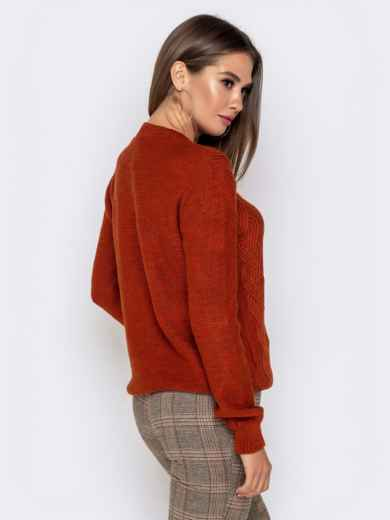 Ажурный свитер с резинкой на манжетах терракотовый - 41173, фото 3 – интернет-магазин Dressa