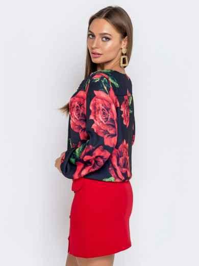 Чёрная блузка из атласного шифона с принтом и V-вырезом - 41021, фото 2 – интернет-магазин Dressa