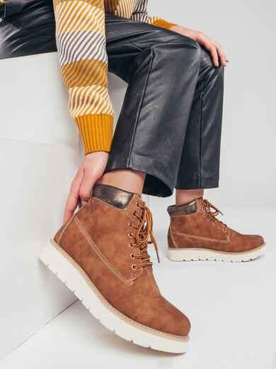 Демисезонные ботинки на плоской подошве коричневые 51424, фото 1