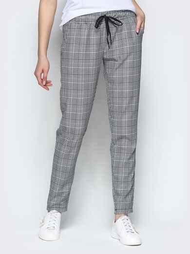 Клетчатые штаны из жаккарда с кулиской по талии серый - 21846, фото 1 – интернет-магазин Dressa