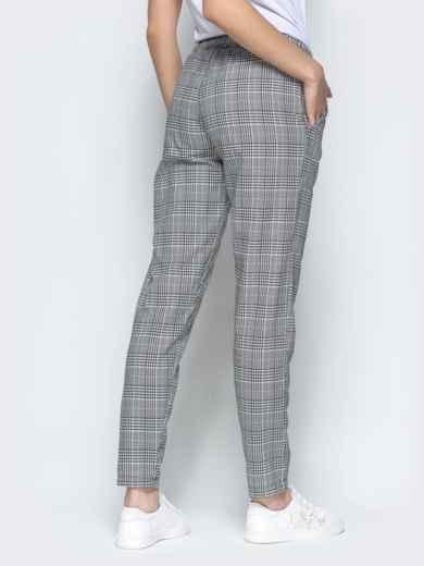Клетчатые штаны из жаккарда с кулиской по талии серый - 21846, фото 3 – интернет-магазин Dressa