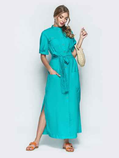 Платье-рубашка в стиле сафари бирюзовое 39541, фото 1