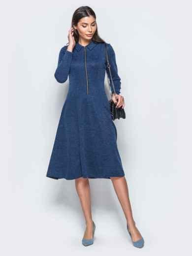 Платье синего цвета с молнией на полочке - 17545, фото 2 – интернет-магазин Dressa