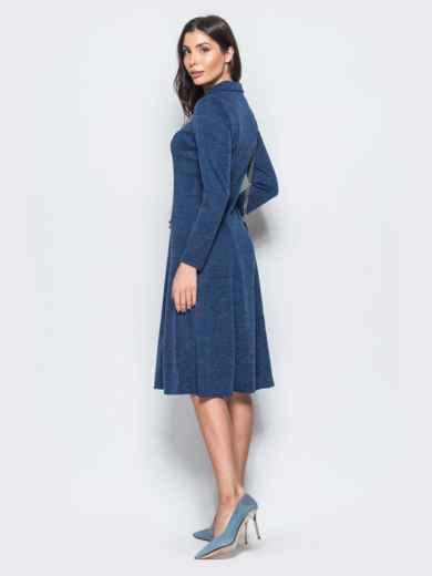 Платье синего цвета с молнией на полочке - 17545, фото 3 – интернет-магазин Dressa