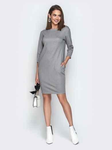 Серое платье свободного кроя с карманами - 20335, фото 2 – интернет-магазин Dressa