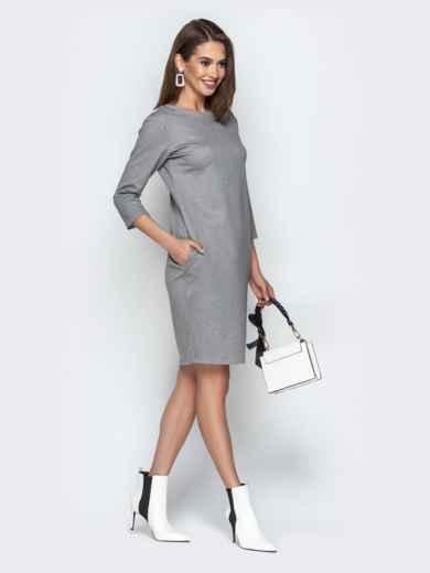 Серое платье свободного кроя с карманами - 20335, фото 3 – интернет-магазин Dressa