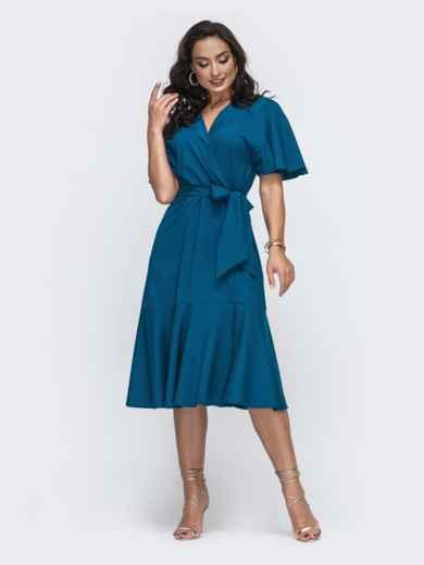 Синее платье батал на запах с воланом по низу 49951, фото 1