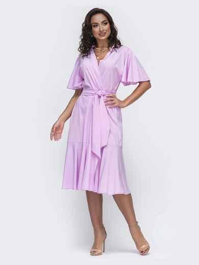 Сиреневое платье батал на  с воланом по низу 49953, фото 1