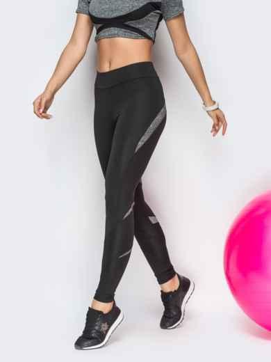 Спортивные лосины черного цвета с серыми вставками - 22131, фото 2 – интернет-магазин Dressa