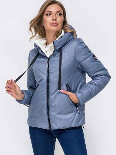 Укороченная куртка со вшитым капюшоном голубая 50412, фото 1