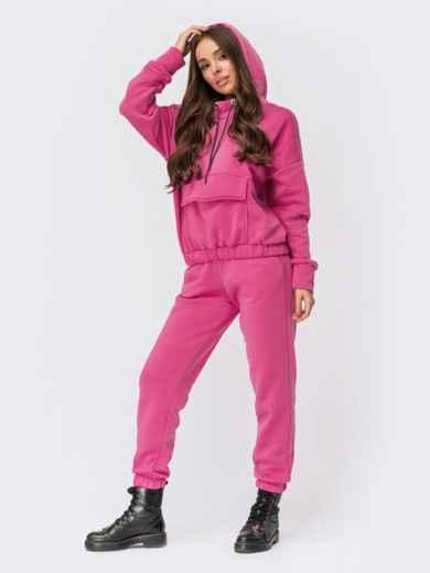 Розовый спортивный костюм с худи и брюками-карго 55593, фото 1