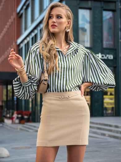 Блузка из софта цвета хаки с объемными рукавами в полоску  49533, фото 1