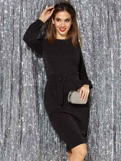 Платье с нитью люрекса и разрезом сзади чёрное 42763, фото 1