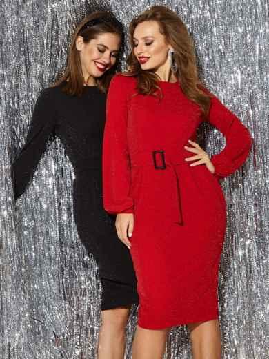 Платье с нитью люрекса и разрезом сзади красное 42762, фото 1