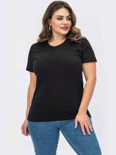 Черная базовая футболка прямого кроя 54107, фото 1