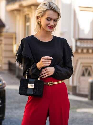 Чёрная блузка из софта с воланами по бокам 49534, фото 1