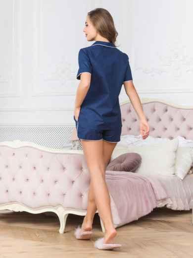 Хлопковая пижама с рубашкой и шортами синяя - 18961, фото 2 – интернет-магазин Dressa
