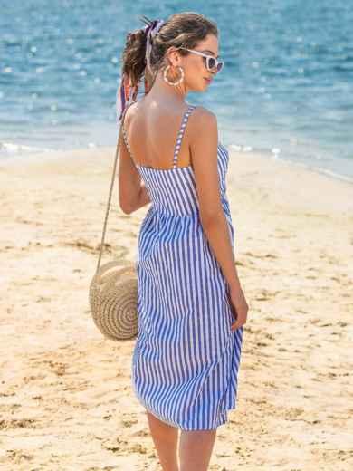 Льняной сарафан в широкую полоску с расклешенной юбкой синий - 38673, фото 4 – интернет-магазин Dressa
