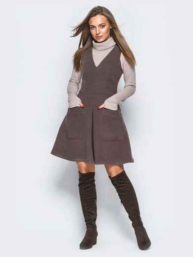 Платье коричневого цвета из кашемира без рукавов - 17658, фото 1 – интернет-магазин Dressa