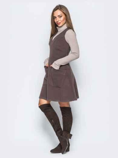 Платье коричневого цвета из кашемира без рукавов - 17658, фото 2 – интернет-магазин Dressa