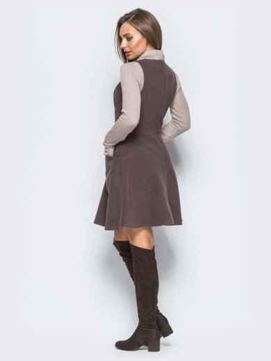 Платье коричневого цвета из кашемира без рукавов - 17658, фото 3 – интернет-магазин Dressa