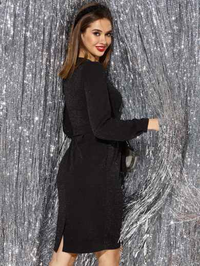 Платье с нитью люрекса и разрезом сзади чёрное 42763, фото 2