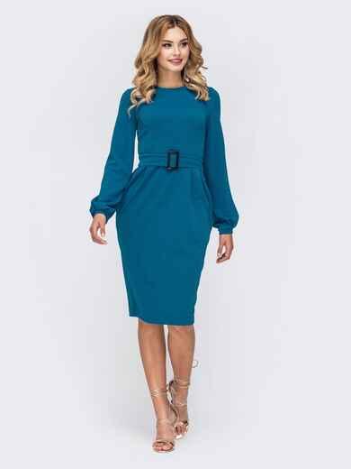 Платье с нитью люрекса и разрезом сзади голубое 42761, фото 1