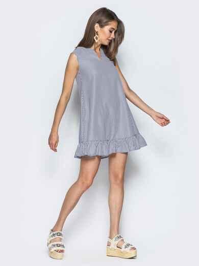 Сарафан с v-образным вырезом и оборкой серый - 14557, фото 1 – интернет-магазин Dressa