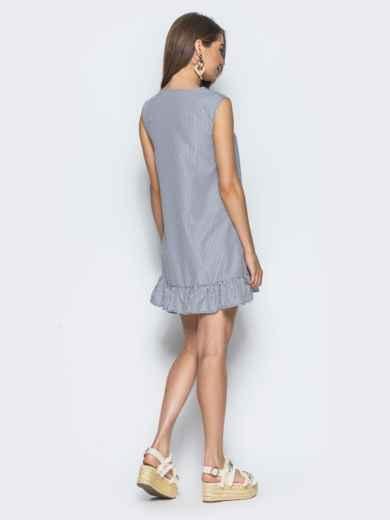 Сарафан с v-образным вырезом и оборкой серый - 14557, фото 2 – интернет-магазин Dressa