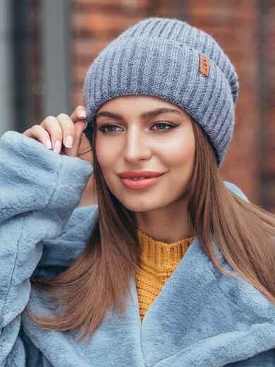 Зимняя шапка светло-джинсового цвета 40524, фото 1