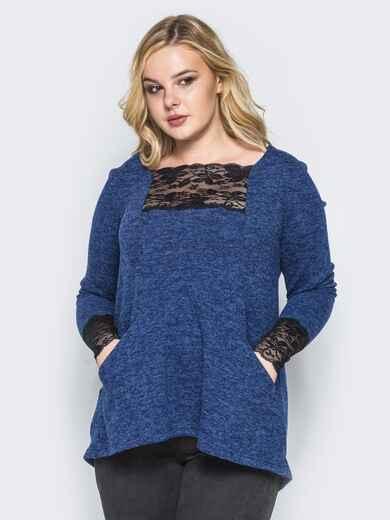 Туника из мягкой ангоры с карманами синяя - 16663, фото 1 – интернет-магазин Dressa