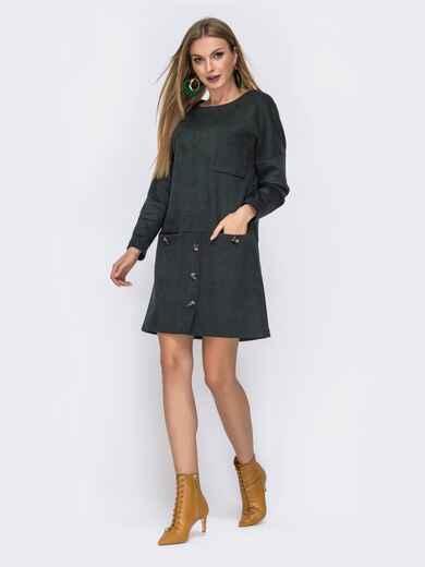 Зеленое платье-мини с овальным вырезом и карманом - 42561, фото 1 – интернет-магазин Dressa