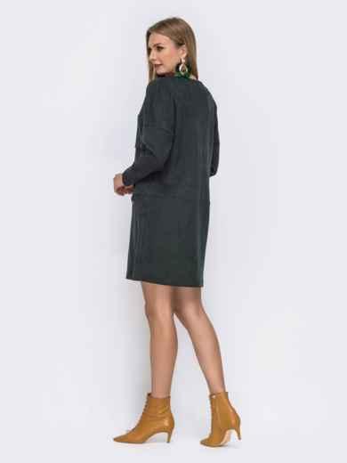 Зеленое платье-мини с овальным вырезом и карманом - 42561, фото 2 – интернет-магазин Dressa