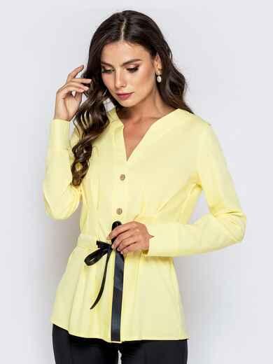 Желтая блузка с атласной кулиской по талии - 40147, фото 1 – интернет-магазин Dressa