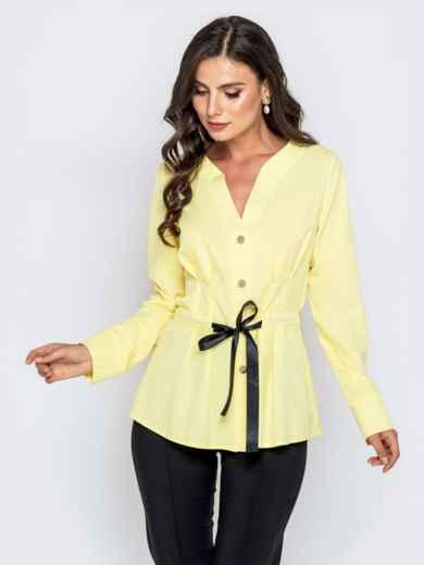 Желтая блузка с атласной кулиской по талии - 40147, фото 2 – интернет-магазин Dressa