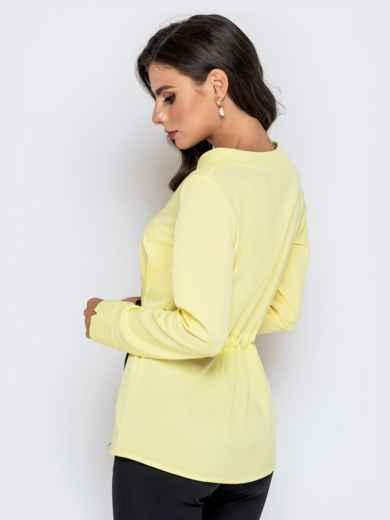 Желтая блузка с атласной кулиской по талии - 40147, фото 3 – интернет-магазин Dressa