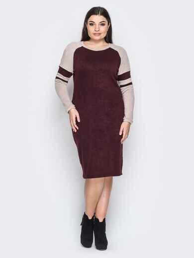 Ангоровое платье с рукавом реглан бордовое - 18365, фото 1 – интернет-магазин Dressa