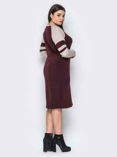 Ангоровое платье с рукавом реглан бордовое - 18365, фото 3 – интернет-магазин Dressa
