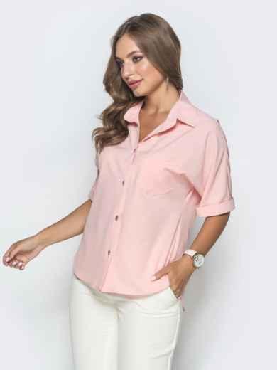 Блузка с удлиненной спинкой и разрезами розовая 39887, фото 2