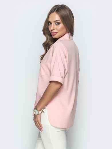 Блузка с удлиненной спинкой и разрезами розовая 39887, фото 3