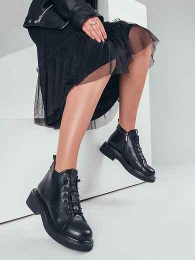 Демисезонные ботинки из искусственной кожи чёрные 50462, фото 1