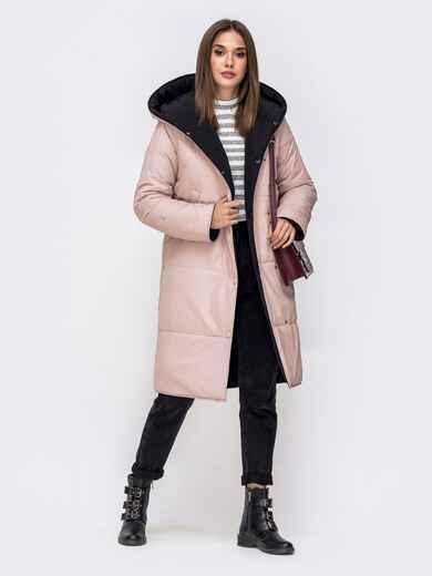 Двухсторонняя куртка пудрового цвета с объемным капюшоном 42644, фото 1
