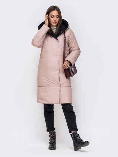 Двухсторонняя куртка пудрового цвета с объемным капюшоном - 42644, фото 2 – интернет-магазин Dressa