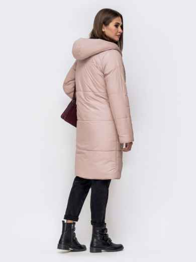 Двухсторонняя куртка пудрового цвета с объемным капюшоном - 42644, фото 3 – интернет-магазин Dressa