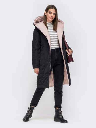 Двухсторонняя куртка пудрового цвета с объемным капюшоном - 42644, фото 4 – интернет-магазин Dressa