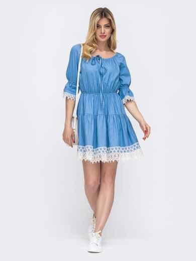 Голубое платье-мини с открытой линией плеч 48135, фото 1
