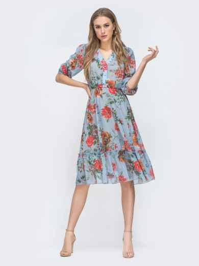 Голубое платье с цветочным принтом и оборкой по низу - 45461, фото 5 – интернет-магазин Dressa
