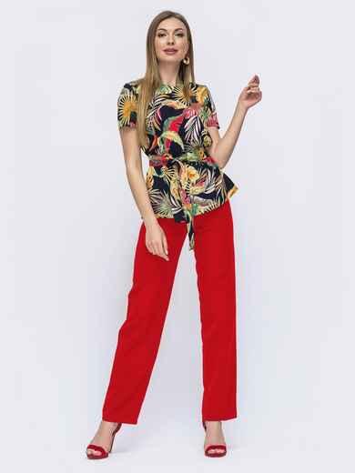 Костюм из блузки с принтом и брюк красный 49772, фото 1