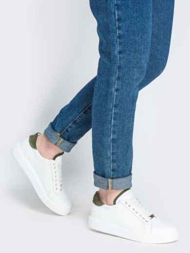 Низкие кеды с контрастными вставками белые - 21424, фото 1 – интернет-магазин Dressa